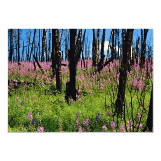 Prairie wildflower, fireweed growing in forest bur personalized invite