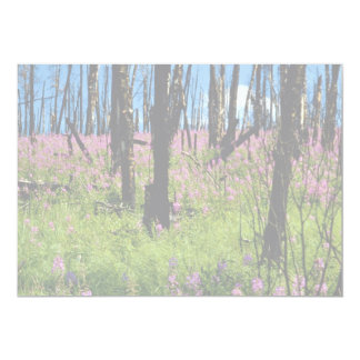 "Prairie wildflower, fireweed growing in forest bur 5"" x 7"" invitation card"