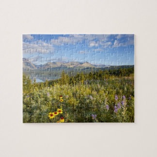 Prairie wildflowers and Lower Two Medicine Lake Jigsaw Puzzle