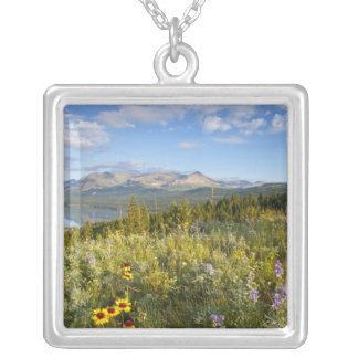 Prairie wildflowers and Lower Two Medicine Lake Square Pendant Necklace
