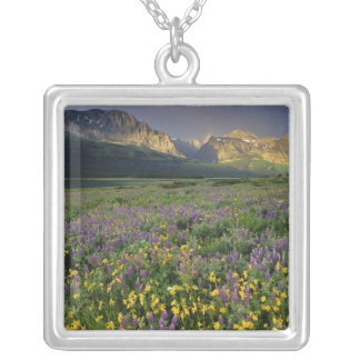 Prairie wildflowers fill meadow near Lake Square Pendant Necklace