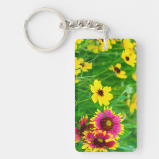 Prairie wildflowers in Hill Country Double-Sided Rectangular Acrylic Key Ring