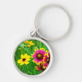 Prairie wildflowers in Hill Country Silver-Colored Round Key Ring