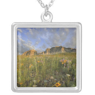 Prairie Wildflowers in Many Glacier Valley at Square Pendant Necklace