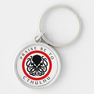Praise Be To Cthulhu Silver-Colored Round Key Ring