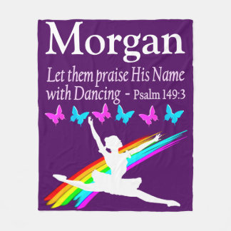 PRAISE GOD PERSONALIZED BALLERINA FLEECE BLANKET