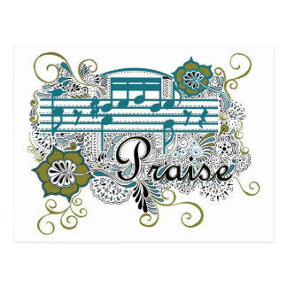 Praise with Musical Notes Postcard