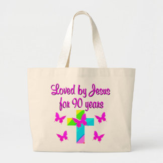 PRAISING GOD 90TH BIRTHDAY JUMBO TOTE BAG