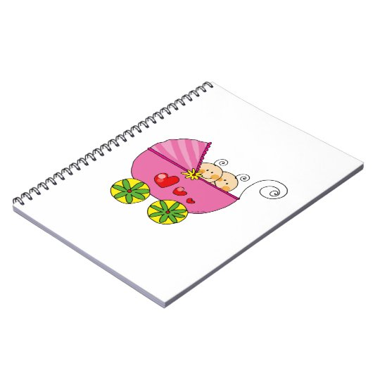 Pram & baby girl twins notebook