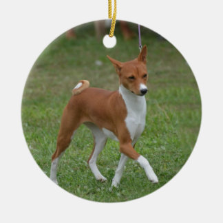 Prancing Basenji Dog Round Ceramic Decoration