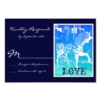 Prancing Carousel Horse Blue Wedding RSVP Cards Invites