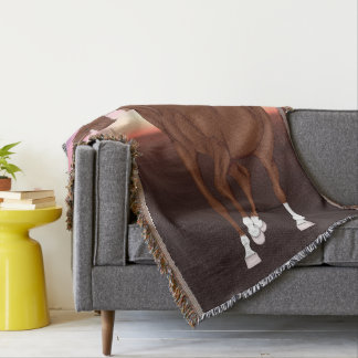 Prancing Chestnut Arabian Horse at Sunset Throw Blanket