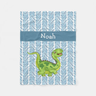 Prancing Dinosaur with Child's Name Fleece Blanket