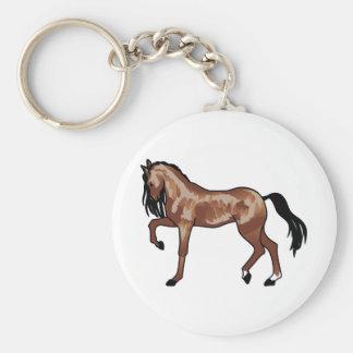 Prancing Horse Smaller Basic Round Button Key Ring