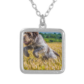 Prancing Italian Spinone Silver Plated Necklace