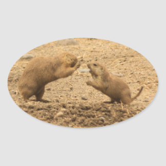 Prarie Dogs Give Me Some Skin Oval Sticker