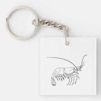 Prawn Art Single-Sided Square Acrylic Key Ring