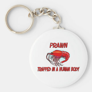 Prawn trapped in a human body basic round button key ring