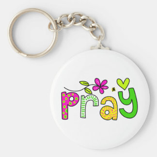 Pray Basic Round Button Key Ring