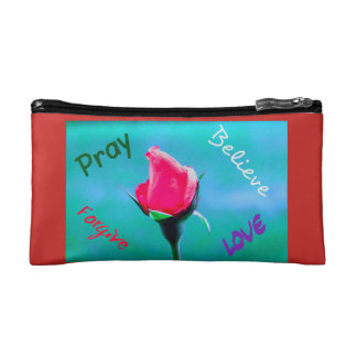 Pray, believe, forgive, love rose cosmetic bag