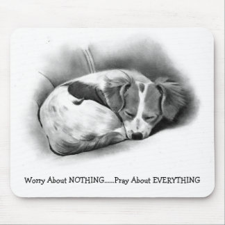 PRAY DO NOT WORRY SLEEPING DOG PENCIL ART MOUSEPADS