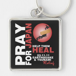 PRAY FOR JAPAN - HELP THEM HEAL Silver-Colored SQUARE KEY RING
