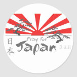 Pray for Japan with the Rising Sun Round Stickers