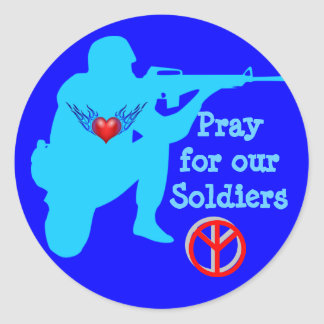 pray for our soldiers stickers* classic round sticker