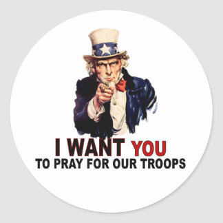 Pray For Our Troops Round Stickers