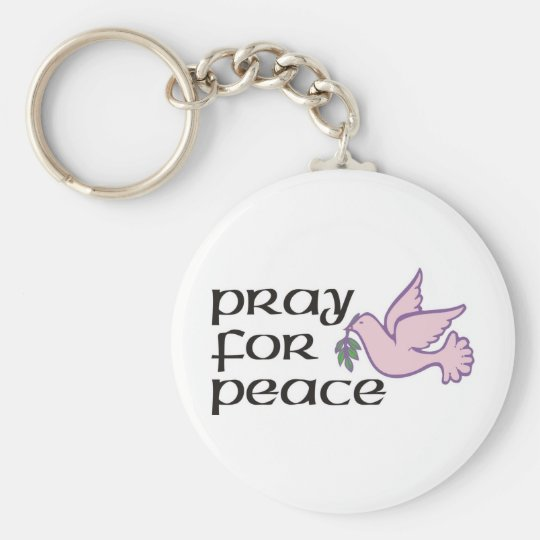 Pray For Peace Basic Round Button Key Ring