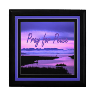 pray for peace (pink scenic) large square gift box