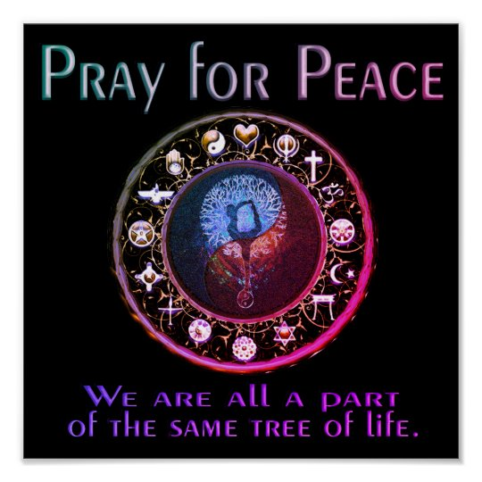 Pray for Peace Rainbow Colours Poster