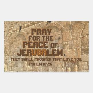 Pray for the Peace of Jerusalem, Psalm 122:6 Rectangular Sticker