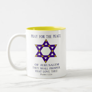 Pray for the peace of Jerusalem Two-Tone Coffee Mug