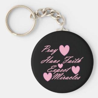 Pray Have Faith Expect Miracles Hearts Keychain