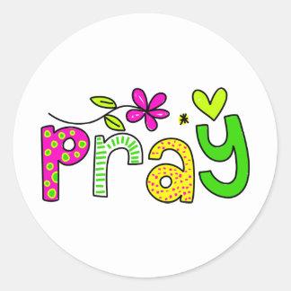 Pray Round Stickers