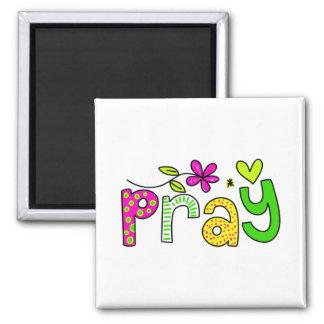 Pray Square Magnet