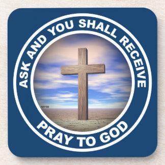 Pray To God Beverage Coasters