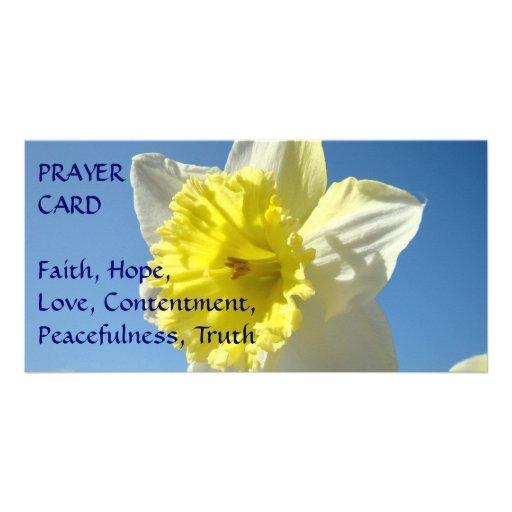 PRAYER CARD Spring Yellow Daffodil Flower Custom Photo Card