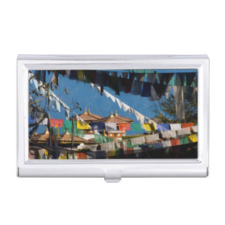 Prayer flags and chortens business card cases