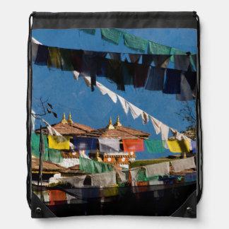 Prayer flags and chortens drawstring bag