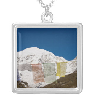 Prayer flags and Mount Jhomolhari, Bhutan. Silver Plated Necklace