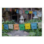 PRAYER FLAGS AT TEMPLE NOTE CARD