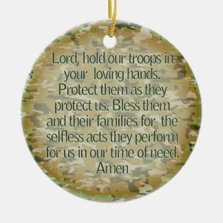 PRAYER FOR OUR SOLDIERS - US MILITARY ROUND CERAMIC DECORATION