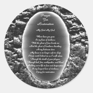 Prayer for Restoration Round Stickers