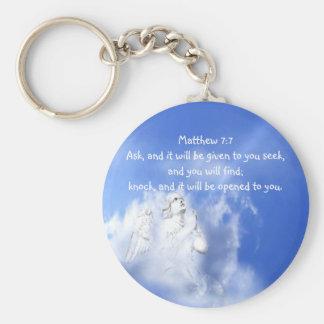 Prayer. Matthew 7:7 Scripture Verse with Angel Sky Basic Round Button Key Ring