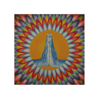 Prayer Mountain Wood Wall Panel Wood Canvas
