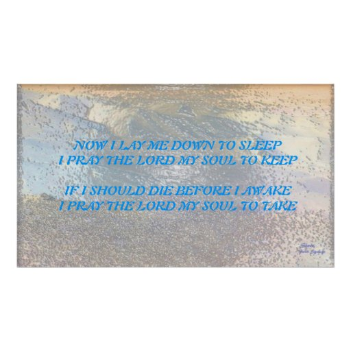 PRAYERNOW I LAY ME DOWN TO SLEEP POSTER