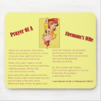 """Prayer of a Fireman's Wife"" Mousepad"