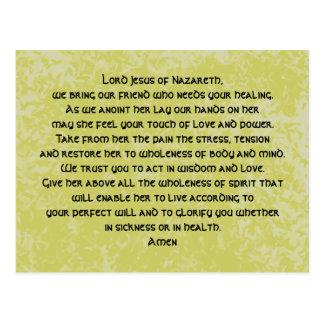 prayer of healing postcard